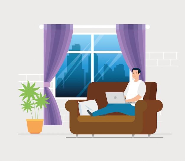 Homem de cena trabalhando em casa na sala de estar
