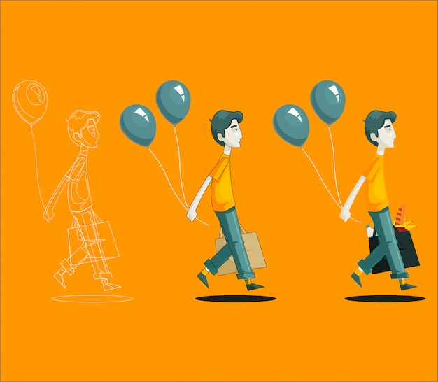 Homem de compras com balões