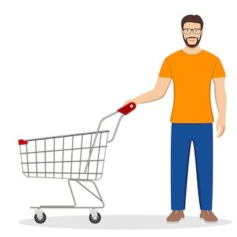 Homem de compras com um carrinho