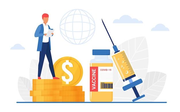 Homem de conceito de farmácia de preços de vacinação em pé sobre uma pilha de moedas de ouro