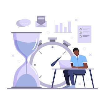 Homem de conceito de gerenciamento de tempo trabalhando