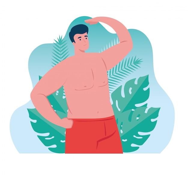 Homem de cor vermelha de shorts, cara feliz em traje de banho com cena de folhas tropicais