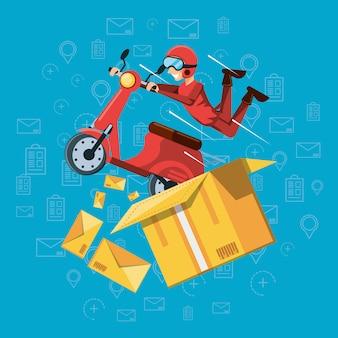 Homem de correio de serviço de logística em motocicleta