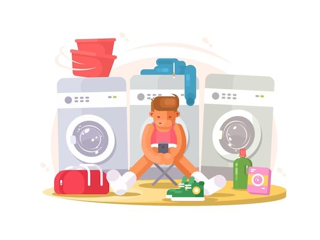Homem de cueca esperando lavando roupas na lavanderia. ilustração