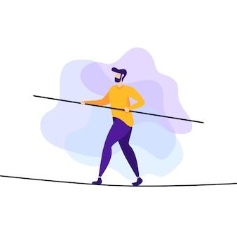 Homem de desafio de risco e perigo na faixa plana de corda