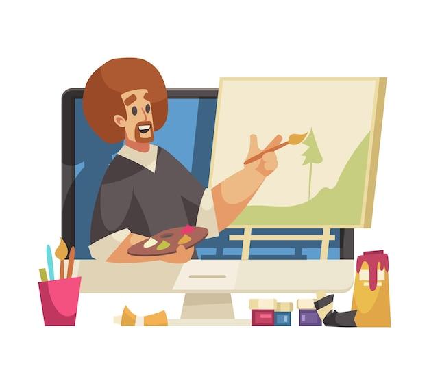 Homem de desenho animado, blogueiro de arte pintando foto online