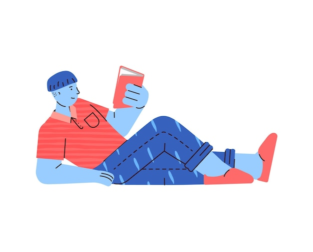 Homem de desenho animado deitado de costas lendo um livro