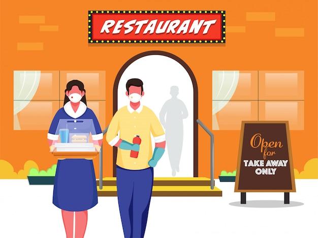 Homem de desenho animado e mulher segurando comida, garrafa de bebida na frente do restaurante para proteger do coronavirus.