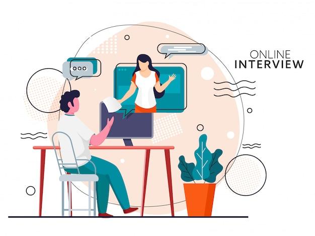 Homem de desenho animado entrevistando online para mulher na área de trabalho em fundo abstrato para evitar o coronavirus.