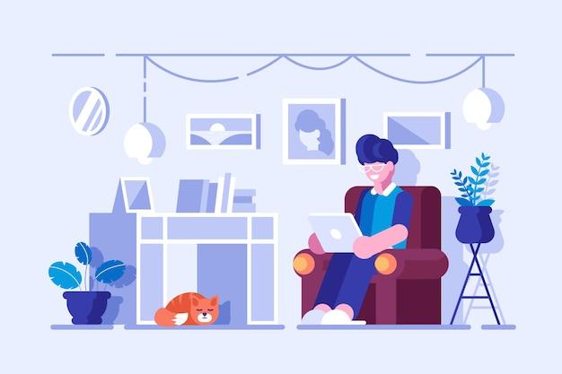 Homem de desenho animado passando seu tempo livre em casa
