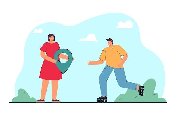 Homem de desenho animado patinando em direção à mulher com o alfinete de localização
