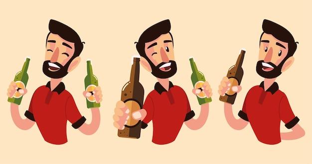 Homem de desenho animado segurando diferentes garrafas de champanhe e vinho, brinde