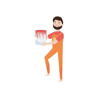 Homem de desenho animado segurando uma lata de tinta sobre fundo branco