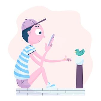 Homem de desenho animado tirando fotos com smartphone