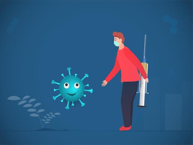 Homem de desenho animado usa máscara médica com seringa oculta e aperto de mão do coronavirus