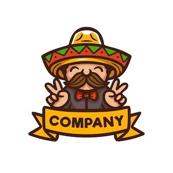 Homem de desenho moderno com logotipo de sombrero e mascote de bigode, ideal para restaurantes de fast food mexicanos