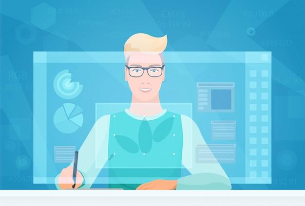 Homem de designer usando interface de espaço de trabalho virtual