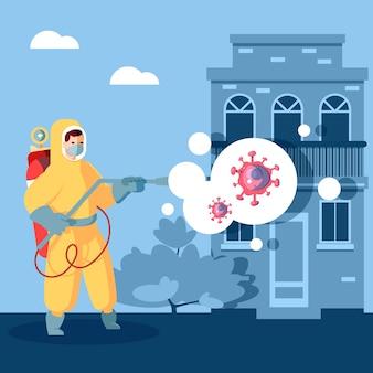 Homem de desinfecção por vírus em hazmat