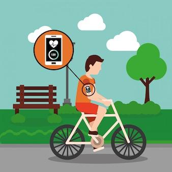 Homem de desporto, andar de bicicleta com app de monitoramento móvel no parque