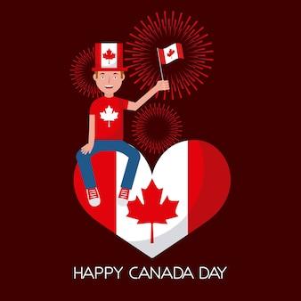Homem de dia de canadá sentado segurando bandeira em fogos de artifício vermelho de coração