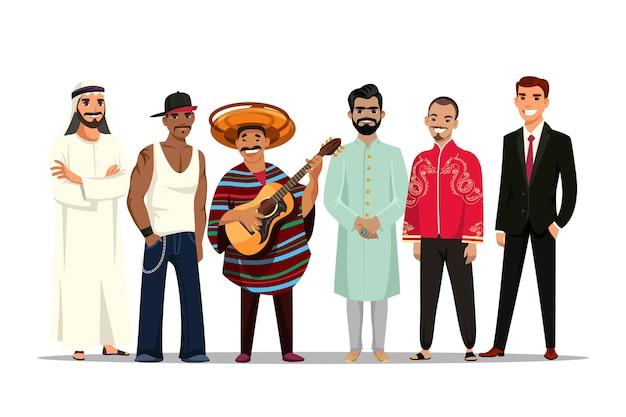 Homem de diferentes nacionalidades em traje tradicional conjunto variedade nação personagem representante