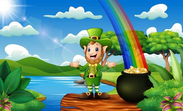 Homem de duende com pote de moedas e chapéu no fundo da natureza