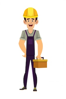 Homem de encanador, segurando a caixa de ferramentas nas mãos