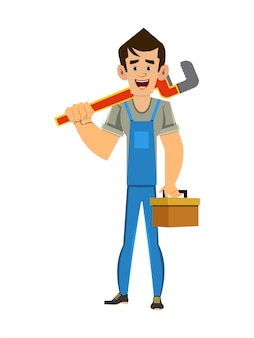 Homem de encanador, segurando a chave e caixa de ferramentas nas mãos