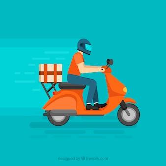 Homem de entrega com capacete na moto moderna