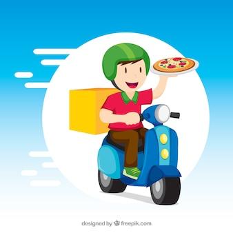 Homem de entrega com pizza e scooter