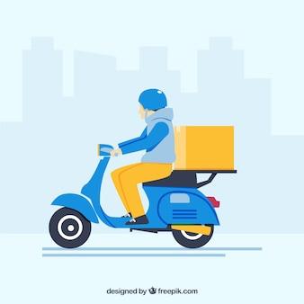 Homem de entrega com scooter clássico
