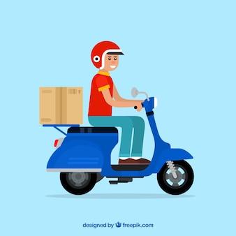 Homem de entrega com scooter e caixa de cartão