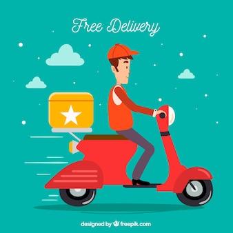 Homem de entrega com scooter no céu