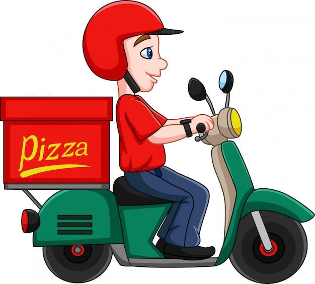 Homem de entrega de pizza dos desenhos animados montando uma scooter