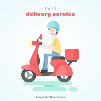 Homem de entrega de smiley plano em scooter