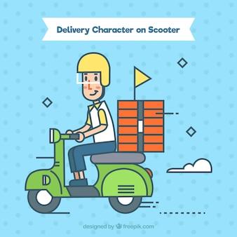 Homem de entrega em scooter com estilo abstrato