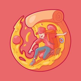 Homem de entrega legal surfando em uma fatia de pizza conceito engraçado de design de comida de trabalho de transporte