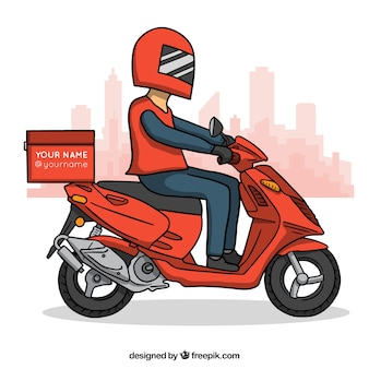 Homem de entrega moderno em scooter