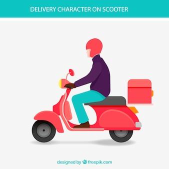 Homem de entrega plano em scooter vintage Vetor grátis