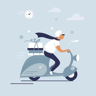 Homem de equitação de scooter, correio de entrega de pizza, design de personagens planos, ilustração vetorial.