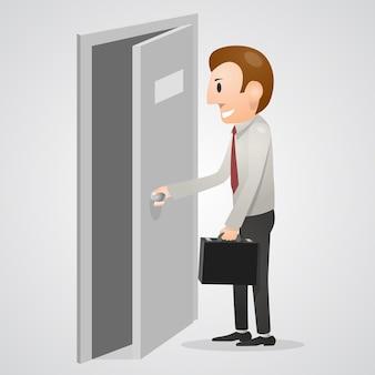 Homem de escritório abrindo uma porta aberta. ilustração vetorial
