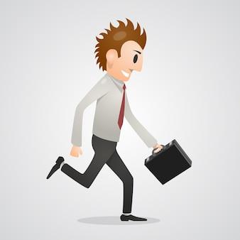 Homem de escritório executando pessoas de arte. ilustração vetorial