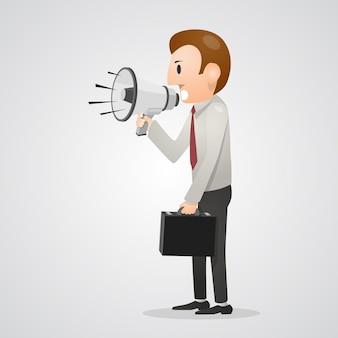 Homem de escritório gritando no megafone. ilustração vetorial