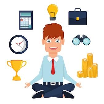 Homem de escritório meditando no meio do trabalho ocupado