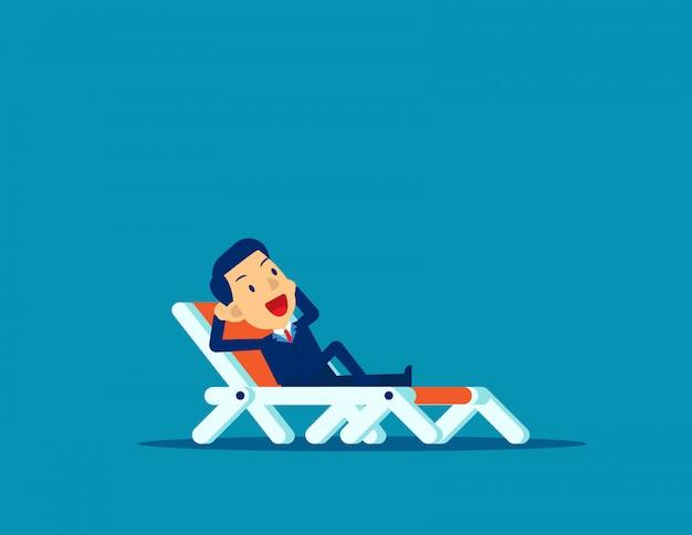 Homem de escritório relaxante. feriado de negócios