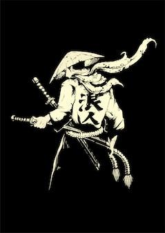 Homem de espadas japonesas com samurai