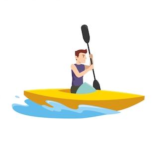 Homem de esportes no torneio com o barco