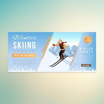 Homem de esqui inverno banner design