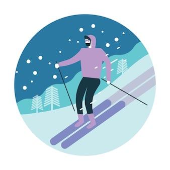 Homem de esqui nas montanhas nevadas.