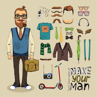 Homem de estilo retro com elementos hipster e conjunto de roupas